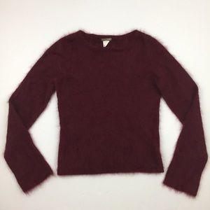 J.CREW Quality Burgundy Fuzzy Crewneck Sweater